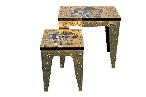 Casa Collection / Art for Living by Jänig 09385 Beistelltische, 2-er Set, Lack, Gustav Klimt, Der Kuss, Maße 66 x 69 x 41 cm und 54 x 41 x 41 cm