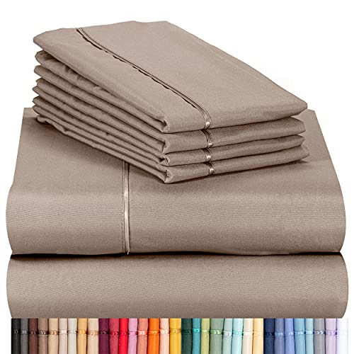 LuxClub 6 PC Sheet Set Bamboo Sheets Deep Pockets 18' Eco Friendly Wrinkle Free Sheets Machine Washable Hotel Bedding Silky Soft - Mocha Queen