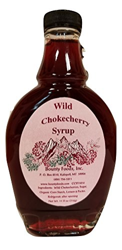 Montana Chokecherry Syrup Breakfast Toppings - 11 oz Real Fruit Grown & Hand Picked in the Wild from Bounty Foods for Coffee - Pancakes & Waffles - Cocktails - Gluten-Free - Non-GMO (CC Sy 11oz)