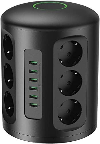 Enchufe USB, Regleta multitoma Vertical eléctrica con protección, 6 Puertos de Carga USB y 12 Tomas con 2 m de Cable Alargado