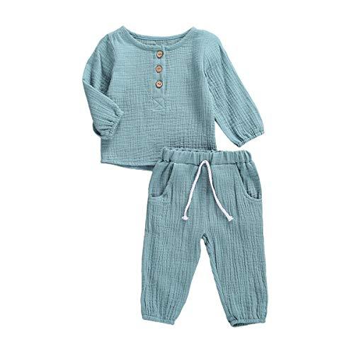 Geagodelia Babykleidung Set Baby Jungen Mädchen Kleidung Outfit T-Shirt Top + Hose Shorts Neugeborene Weiche Einfarbige Babyset T-47740 (Türkis - Langarm, 12-18 Monate)