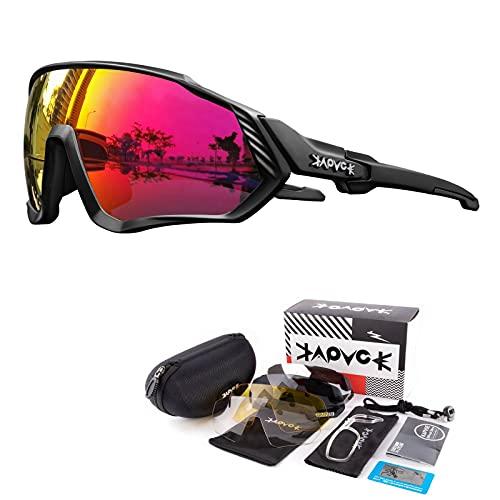 KAPVOE Gafas de Ciclismo Polarizadas con 5 Lentes Intercambiables para Hombres Mujeres Pantalla Completa TR90 Gafas de Sol Ligeras para Ciclismo Deportivo MTB 02