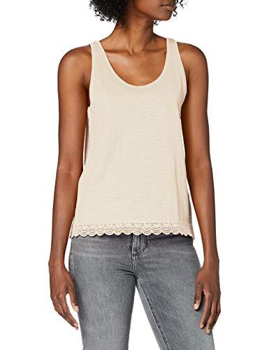 TOM TAILOR Denim Damen Relaxed Crochet T-Shirt, 22515-soft Creme beige, S