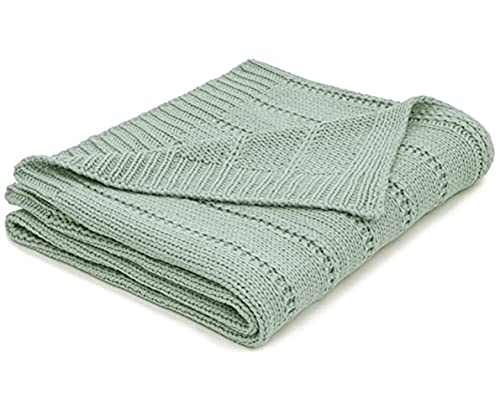 RECYCO Acrylic Solid Color Knitted Throw Blanket 50'x60' Cable Textured Decorative Throw Blanket for Couch Chairs Bedroom Office Home Decor (Sage)