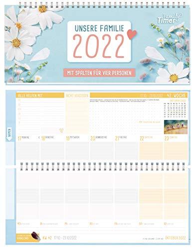 Family-Timer kalendarz na biurko na 2022 rok w formacie poprzecznym dla 4 osób | 1 tydzień na 2 stronach | kalendarz tygodniowy z twardą okładką 14,5 x 32,5 cm, kalendarz biurkowy z sentencjami | trwały i neutralny dla środowiska