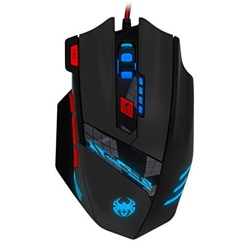 GranVela Zelotes T90 Professionale 9200 DPI High Precision Metallico USB Mouse di Gioco, 8 Pulsanti, con 7 Tipi Modi di Luce del LED, Peso Sintonia (Nero)
