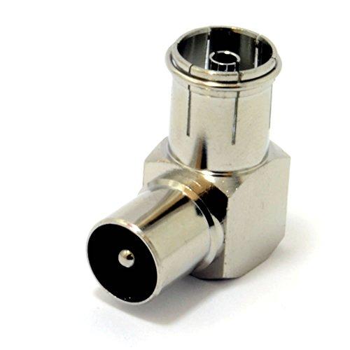 Kenable - Adattatore ad angolo retto con spinotto per cavi coassiali per antenna TV, connettori placcati oro