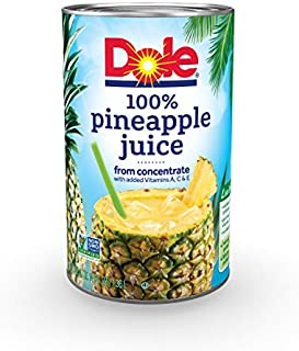 Dole 100% Juice Pineapple 46 Ounce Cans (Pack of 6)