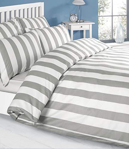Louisiana Bedding Bettwäsche Bettbezug Set Grau Weiss weiß Gestreiften Bettdecke- Double