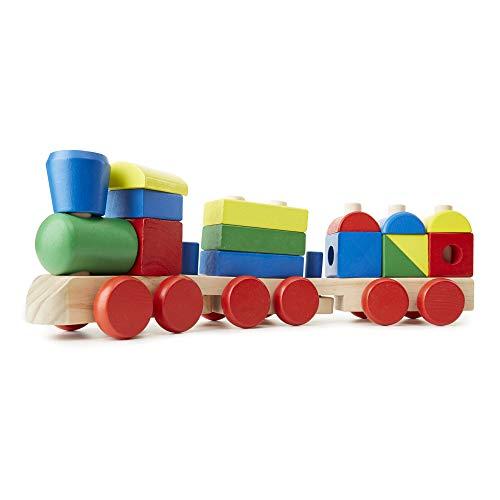 Melissa & Doug Zug zum Stapeln (klassisches Spielzeug für Kleinkinder aus Holz, 18 Teile)