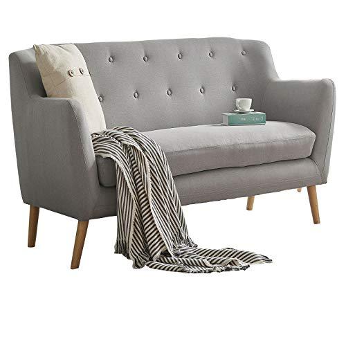 CARO-Möbel 3 Sitzer Sofa Cesena Couch mit Stoffbezug in grau, Polstersofa im Retro Design