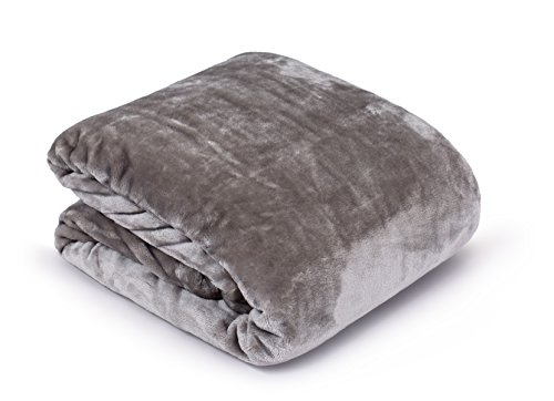 Internet's Best Plush Velvet Mink Throw Blanket - Gray - Thick Ultra Soft Couch Blanket - Warm Sofa Throw - 100% Microfiber Polyester - Easy Travel - King Bed - 108 x 90