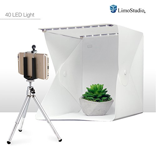"""LimoStudio 9.5"""" Cube Foldable Table Top 40 LED Mini Light Box with Mini Tripod and Cellphone Holder, Photo Shooting Tent for Small Item and Commercial Product Shooting, AGG2622V2"""