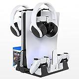 GQGQ Enfriador PS5 y estación de Carga del Mando para Playstation 5, Soporte Vertical con 4 Ventiladores de Refrigeración y 14 Juegos Ranuras y 2 Soporte para Auriculares