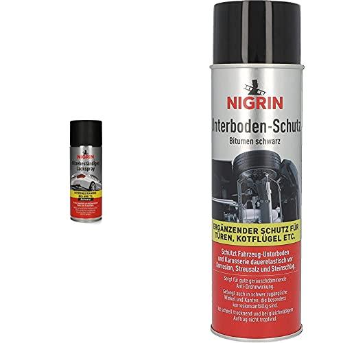 Nigrin 74117 Hitzebeständiges Lackspray 400 ml, mattschwarzer Autolack, 400 ml & Unterbodenschutz-Spray, 500 ml, haftfähig, Korrosionsschutz für den Unterboden von Autos, schwarz