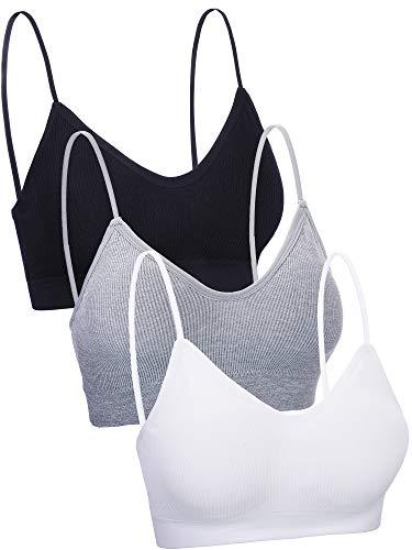 Boao 3 Pieces V Neck Tube Top Bra Seamless Padded Camisole Bandeau Sports Bra Sleep Bra with Elastic Straps .(Black, White, Grey, S - M)