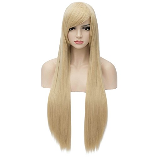 Aosler Black Long Wig,32 Inches Straight Synthetic Hair Wigs with Flat Bangs - Heat Friendly Women Cosplay Party Costume Wigs for Halloween