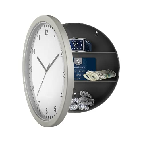 Viccilley Reloj de Pared Diversion Safe - Reloj de Pared Secreto Oculto Safe Secret Stash Caja de contenedor de Pared para Guardar Dinero, Joyas, Objetos de Valor, Almacenamiento en Efectivo