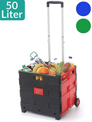 Einkaufstrolley Einkaufskorb Faltbar Rot | Belastbar bis 35kg | Ladekapazität 50L | Mit Ausziehgriff