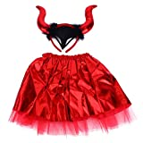 GARNECK 1 Set Disfraz de Diablo Disfraz de Halloween Vestido de Tutú con Diadema de Diablo para Fiesta de Halloween Perfomance (Rojo)