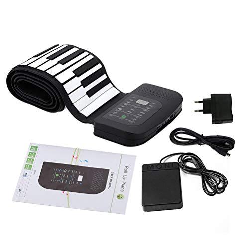 Suvox - Piano enrollable electrónico, teclado para piano, 88 teclas, instrumento musical con enchufe de la UE, para niños y adultos, color negro