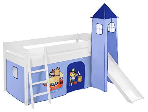 Lilokids Spielbett IDA 4105 Pirat Blau-Teilbares Systemhochbett weiß-mit Turm, Rutsche und Vorhang Kinderbett, Holz, 208 x 220 x 185 cm