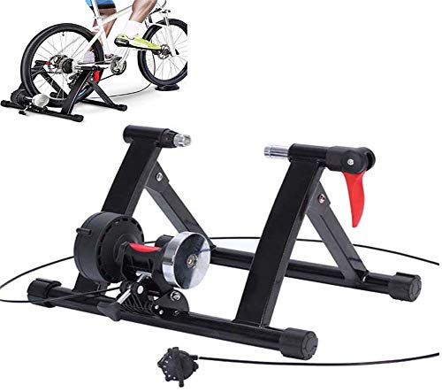 ZQTHL Magnetic Turbo Trainer, 6 Cycle Gear Variable Resistance Wire Controlled,Noise Reduction/Iron Frame,for Road and Mountain Bicycles, Foldable Indoor Bike Trainer