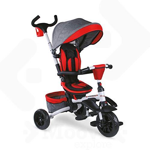 Mondo On&Go - Moovi Explore Triciclo / Passeggino per Bambini - Maniglione a Spinta, tenda parasole, cesto porta oggetti - da 12 mesi fino a 5 anni - colore Rosso