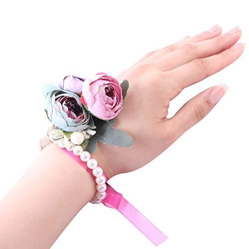 Desconocido Super1798 - Pulsera de Perlas de imitación para Boda, Dama de Honor, Novia, Cinta de Flor, para Boda, Festival, Playa, Fiesta, Baile