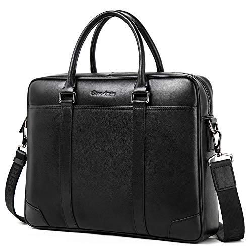 BISON DENIM Herren Ledertasche Leder Umhängetasche Aktentasche Laptoptasche Arbeitstasche Businesstasche Handtaschen Messenger Bag (N2610-Schwarz)