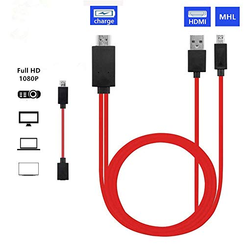 Micro USB to HDMI, MHL to HDMI, Micro USB to HDMI Converter for Android Smart Phones, Micro 5pin to 11pin Adapter, MHL Micro USB to HDMI Cable Adapter (Red)