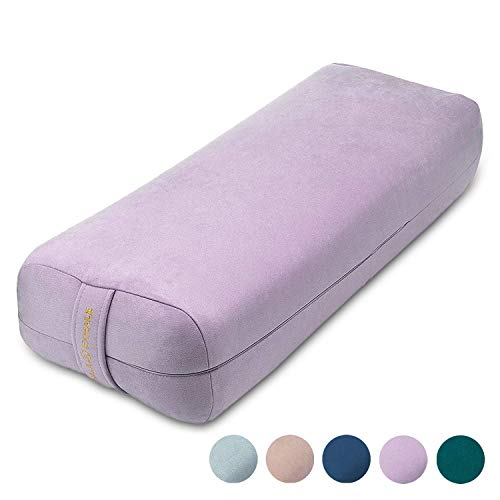 Ajna Yoga Bolster Pillow for Meditation and Support - Rectangular Yoga Cushion - Yoga Accessories from Machine Washable with Carry Handle (Amethyst)