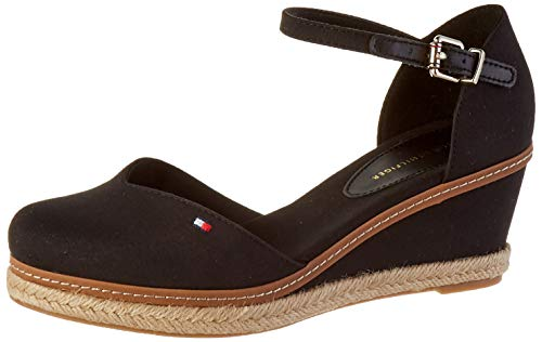 Tommy Hilfiger Damen Basic Closed Toe MID Wedge Peeptoe Sandalen, Schwarz (Black Bds), 39 EU
