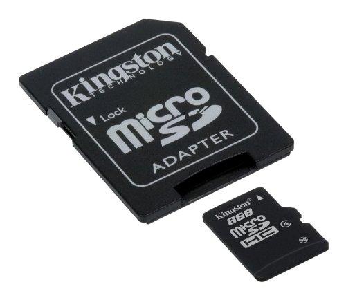 Kingston SDC4/8GB Memoria MicroSDHC con Adattatore SD, 8 GB, Class 4