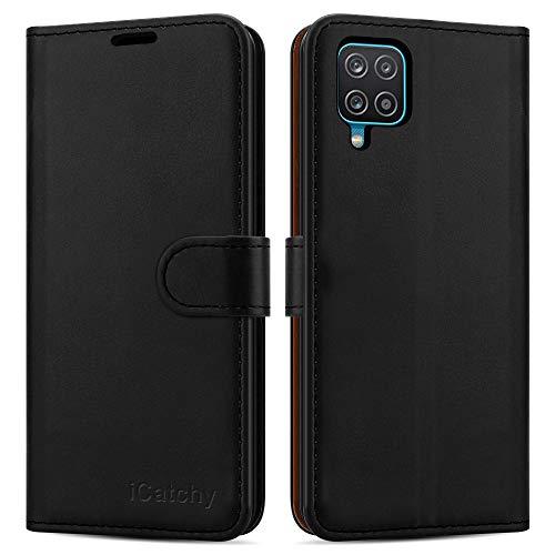 iCatchy Schutzhülle für Samsung Galaxy A12, Leder, Brieftaschenformat, mit Standfunktion, mit Kartenfächern, kompatibel mit Galaxy A12 5G (16,5 cm), Schwarz