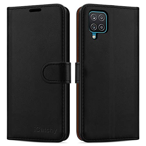 iCatchy For Samsung Galaxy A12 Case Leather Wallet Book Flip Folio Stand View Cover with Card Slots Compatible with Galaxy A12 5G (6.5'') (Black)