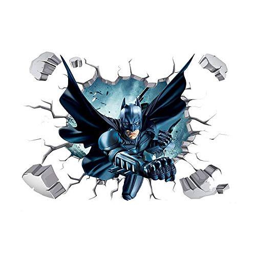 Greetuny 1pcs Batman Vinilos de Pared Infantiles Superhéroe Rompiendo la Pared Guay Pegatinas Decorativas Niño Dormitorio Etiquetas Adhesivas