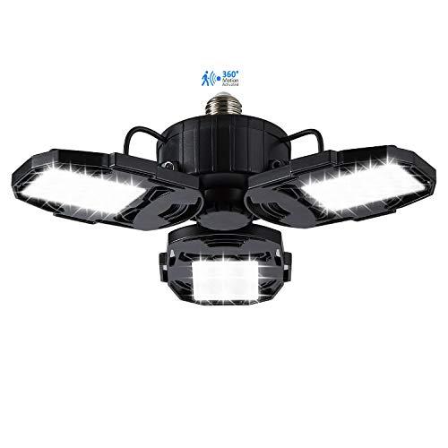 Motion Activated LED Garage Lights, 80W Motion Sensor Deformable LED Garage Ceiling Lights with 3 Adjustable Wings, 8000LM, E26 LED Shop Lights for Warehouse, Barn, Basement