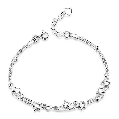 Pulsera de plata de ley con cuentas de mini estrellas para mujer y niña, ajustable con eslabones de amistad