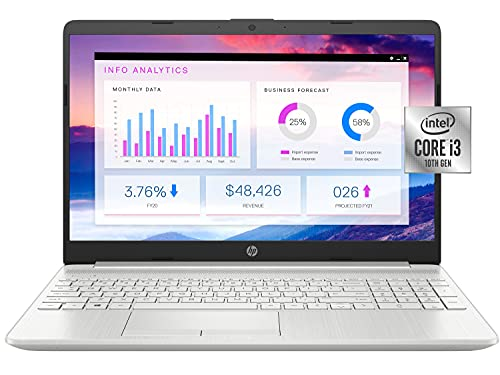 2021 Newest HP 15 Budget Laptop Notebook, 15.6' HD BrightView Display, i3-10110U, 16GB DDR4 RAM, 512GB SSD, Webcam, WiFi, Bluetooth, Windows 10, Natural Silver