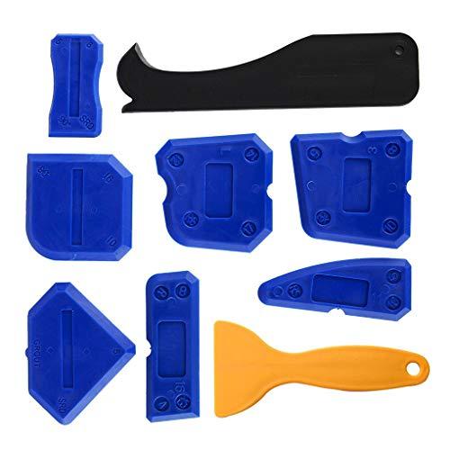 Guangcailun Kit de herrientas para calafateo 9pcs sellador de acabado de la herrienta Eliminar arañazos calafateo herrienta de sellado de limpieza raspador