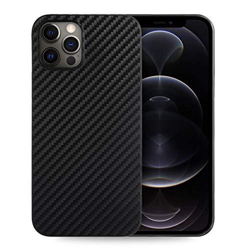 doupi UltraSlim Custodia per iPhone 12 PRO/iPhone 12 (6,1 Pollici), Carbon Fiber Look Fibra di Carbonio ottiche Piuma Facile Cover Hardcase, Nero