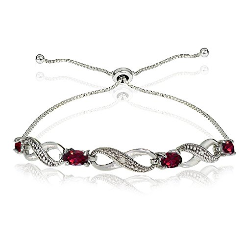 GemStar USA Sterling Silver Synthetic Ruby Figure 8 Infinity Adjustable Bolo Bracelet