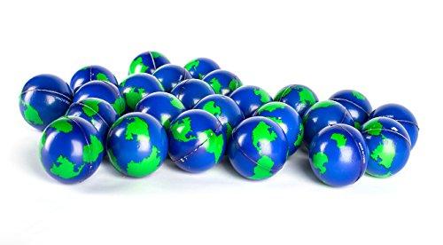 Bulk Lot of 2 Dozen World Stress Balls Earth Stress Relief Toys Therapeutic Educational Balls 24 Globe Squeeze 2 ' Stress Balls