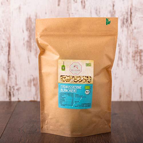 süssundclever.de® Bio Erdnusskerne, blanchiert | 1 kg | Rohkost | 100% naturbelassen und unbehandelt | plastikfrei und ökologisch-nachhaltig abgepackt (1000)