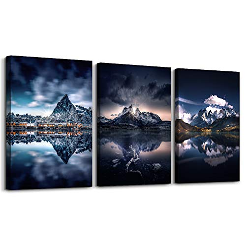 Abstract mountain Watercolor painting wall decorations for Living Room Bedroom wall Decor,Bathroom Canvas Wall Art decor 3 Piece Home Decoration inspirational Landscape Wall Painting modern Artwork
