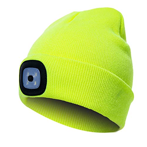 LED moda berretto maglia Beanie caldo cappello, unisex, con luce LED per esterni campeggio arrampicata pesca corsa e più Taglia libera Fluorescent Yellow