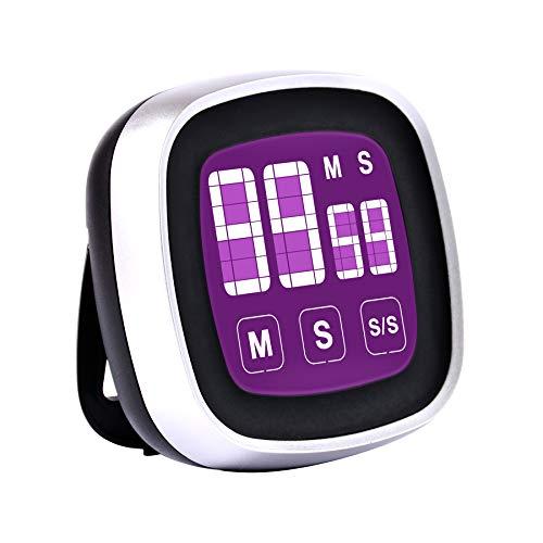 Vihimi Timer da Cucina Digitale con cronometri Conto alla rovescia, Timer Magnetico con Allarme Forte e Ampio Display a LED, Timer Digitale per Cucinare, Fare Esercizio o Test (Viola)