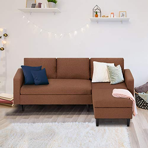 Esright Small Sectional Sofa Couch Fabric Sectional Sofa for Living Room L-Shape Couch with Chaise Lounge, 3 Piece Small Couch for Small Space, Apartment Couch, Brown