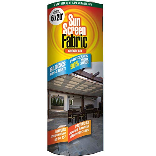 Easy Gardener Sun Screen Fabric (Reduces Temperature Up to 15 Degrees, Provides 75% More Shade) Chocolate Brown Shade Fabric, 6 Feet x 20 Feet